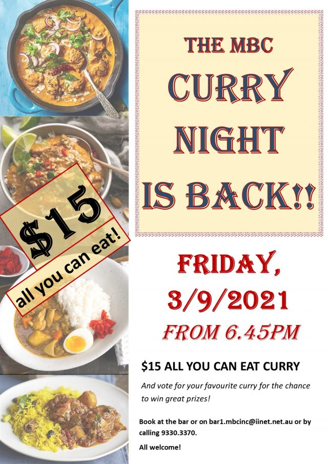 CURRY NIGHT: 3 September 2021